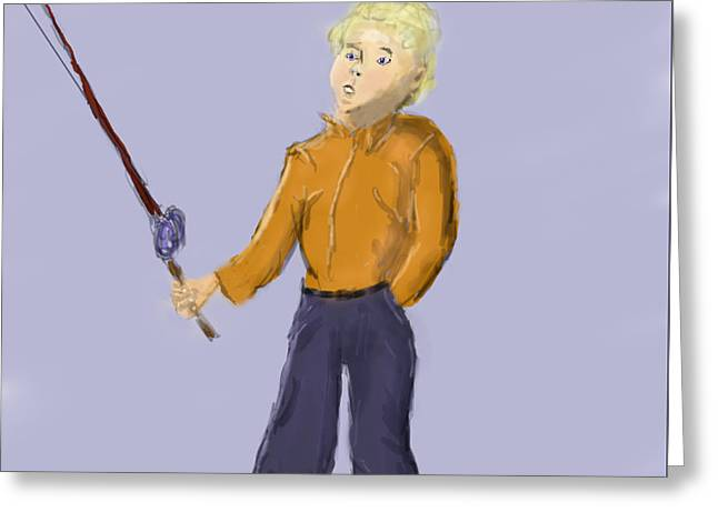 Fishing Rods Drawings Greeting Cards - Grandpa Lets Go Fishing Greeting Card by Barry Jones