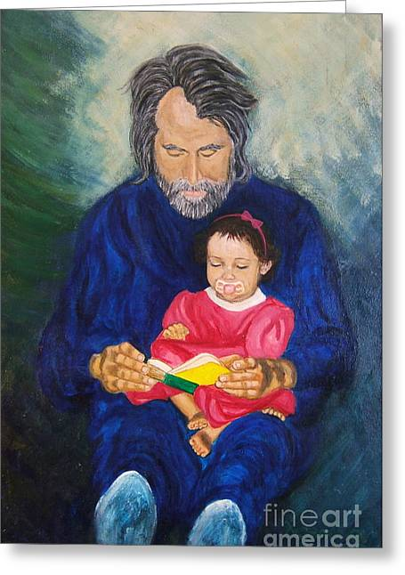 To My Father Greeting Cards - Grandpa reads a  Story Greeting Card by Nancy Rucker