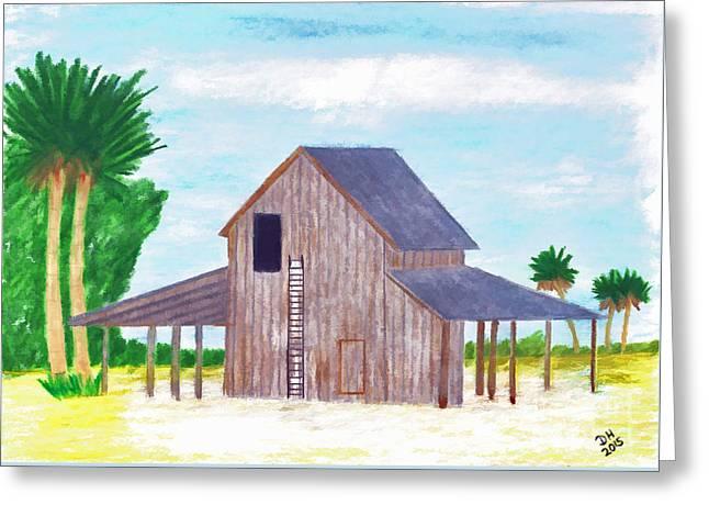 Pencil On Canvas Greeting Cards - Grandpas Bean Barn Greeting Card by D Hackett
