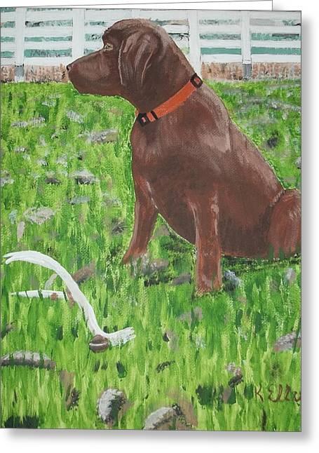 Puppies Paintings Greeting Cards - Grandpup Ben Greeting Card by Kecia Ellis