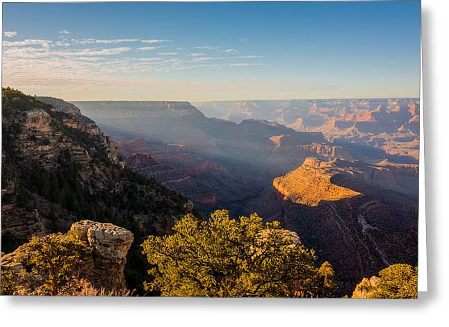 Light Beams Greeting Cards - Grandview Sunset - Grand Canyon National Park - Arizona Greeting Card by Brian Harig