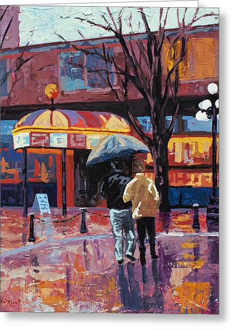 Street Lights Greeting Cards - Grandville Couple Greeting Card by Marion Rose
