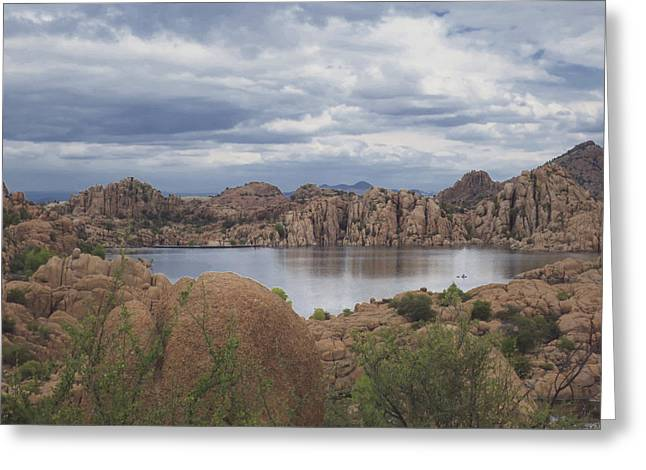 Granite Dells Reflections Greeting Cards - Granite Dells at Watson Lake 1 Greeting Card by Muriel Levison Goodwin