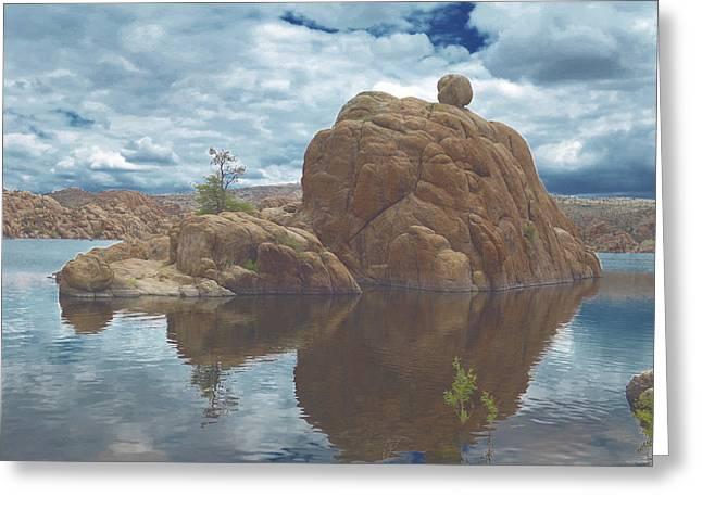 Granite Dells Reflections Greeting Cards - Granite Dells at Watson Lake 2 Greeting Card by Muriel Levison Goodwin