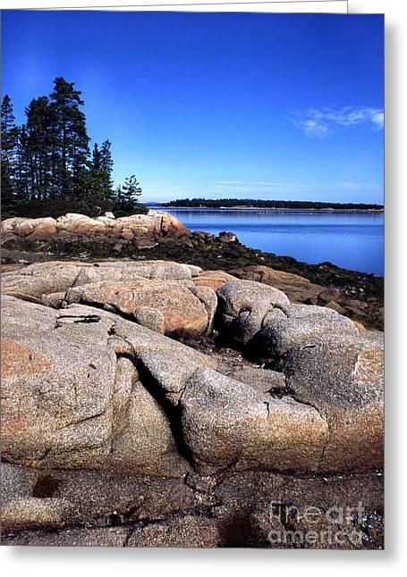 Granite Shoreline Deer Isle Maine Greeting Card by Thomas R Fletcher