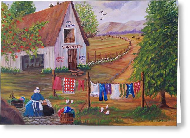 Red Posts Quilt Greeting Cards - Granny and her Laundry Greeting Card by Janna Columbus