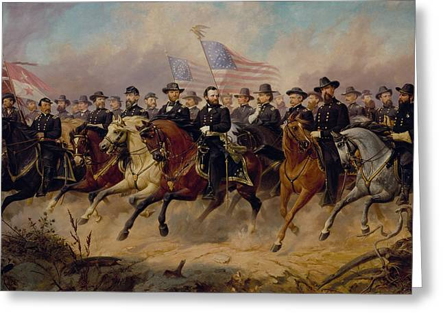 President Paintings Greeting Cards - Grant and His Generals Greeting Card by War Is Hell Store
