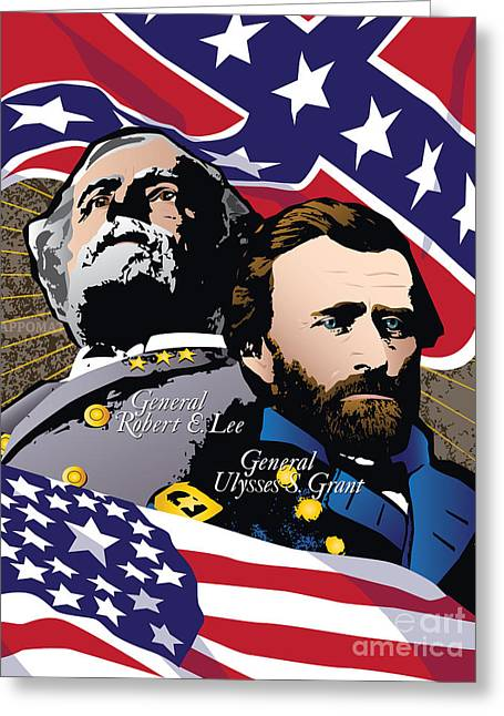 Confederate Flag Greeting Cards - Grant and Lee at Appomattox Greeting Card by Joe Barsin