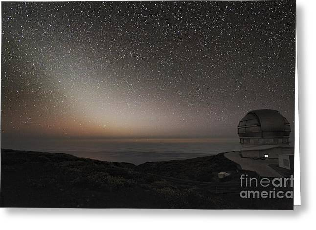 Telescope Domes Greeting Cards - Grantecan Telescope And Zodiacal Light Greeting Card by Alex Cherney, Terrastro