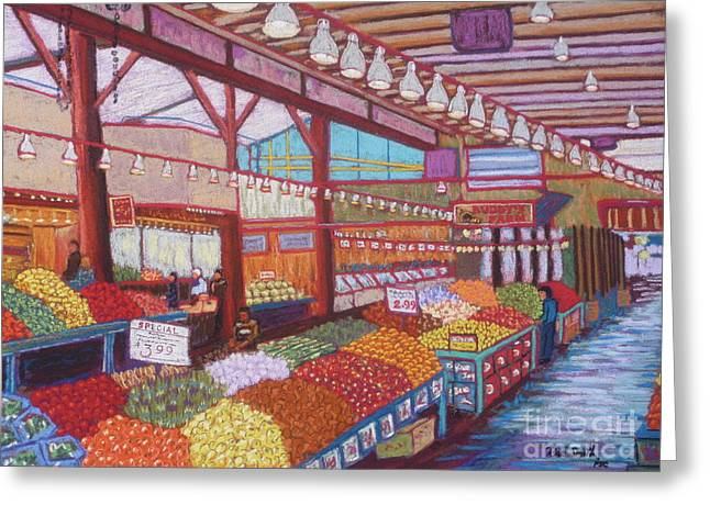 Food And Beverage Pastels Greeting Cards - Granville Island Market BC Greeting Card by Rae  Smith