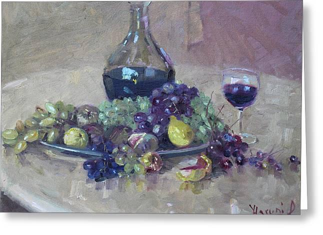 Grape And Wine Greeting Card by Ylli Haruni