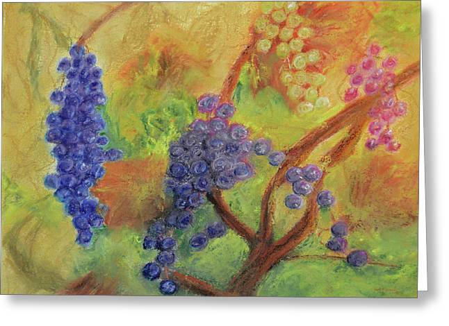 Grape Collage Greeting Card by Ken Figurski