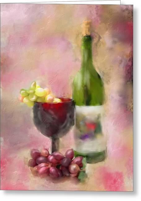 Wine-glass Greeting Cards - Grape Essence Greeting Card by Mary Timman