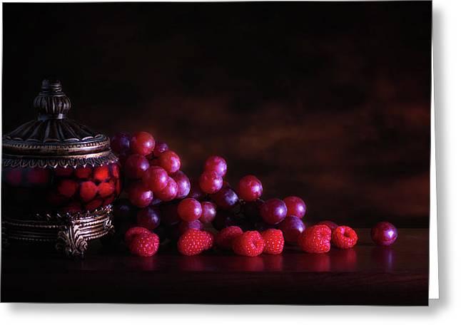 Grape Raspberry Greeting Card by Tom Mc Nemar