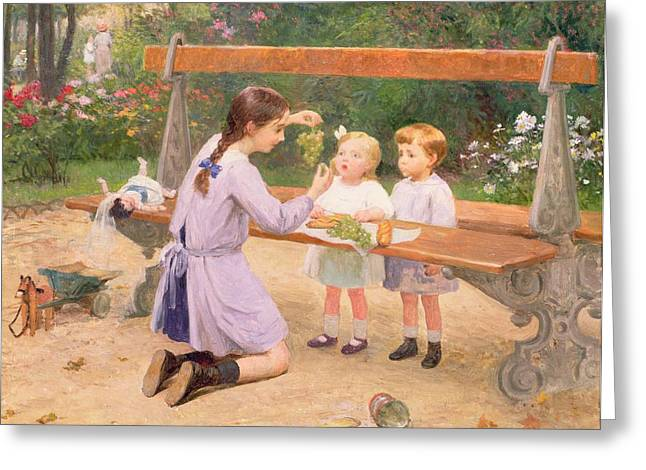 Park Benches Paintings Greeting Cards - Grape tasting  Greeting Card by Victor Gabriel Gilbert