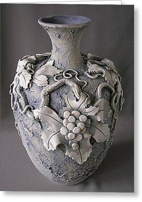Gray Ceramics Greeting Cards - Grape Vase Greeting Card by Anna Russell