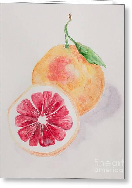 Grapefruit Paintings Greeting Cards - Grapefruit Greeting Card by Marya Patapovich