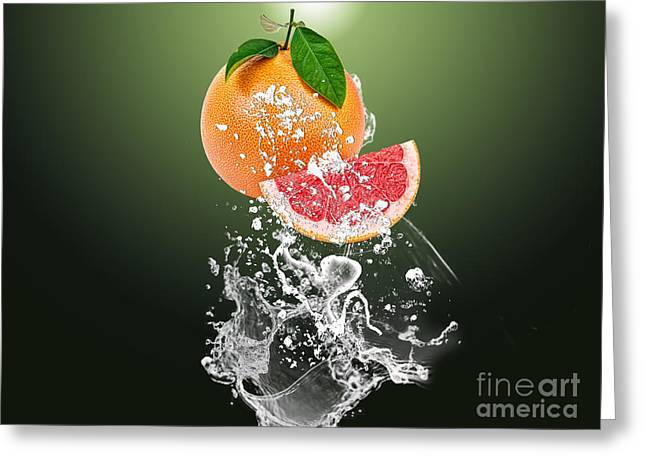 Grapefruit Splash Greeting Card by Marvin Blaine
