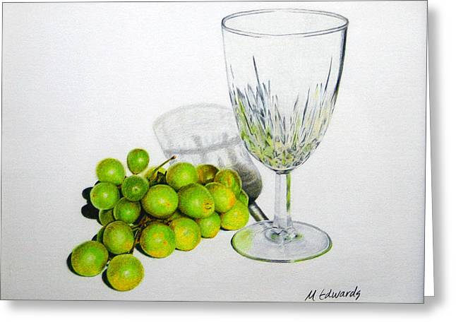 Goblet Drawings Greeting Cards - Grapes and Crystal Greeting Card by Marna Edwards Flavell