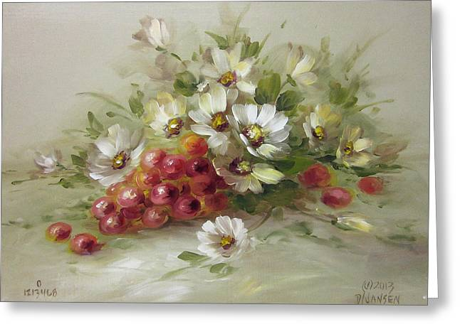 Recently Sold -  - Landscape Framed Prints Greeting Cards - Grapes and Daisies Greeting Card by David Jansen