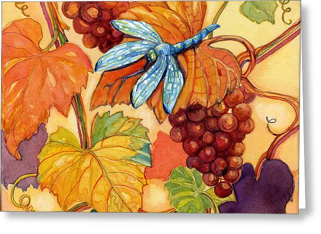 Grape Vineyard Greeting Cards - Grapes and Dragonfly Greeting Card by Peggy Wilson