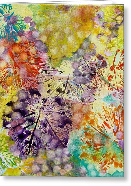 Grape Leaf Greeting Cards - Grapes and Leaves I Greeting Card by Karen Fleschler