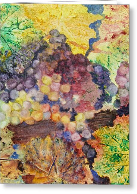 Grape Leaves Greeting Cards - Grapes and Leaves II Greeting Card by Karen Fleschler