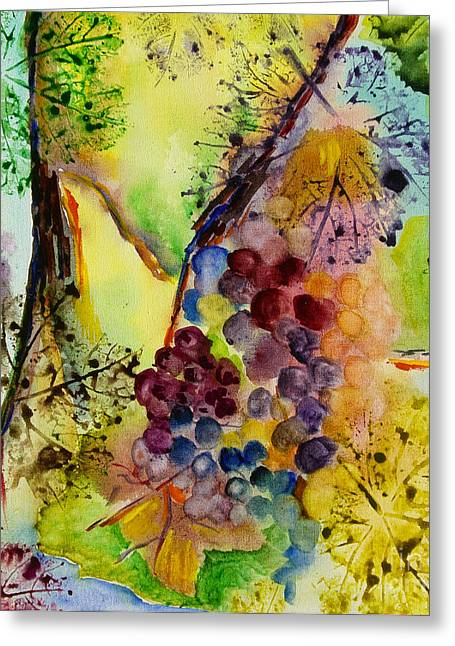 Grape Leaf Greeting Cards - Grapes and Leaves III Greeting Card by Karen Fleschler