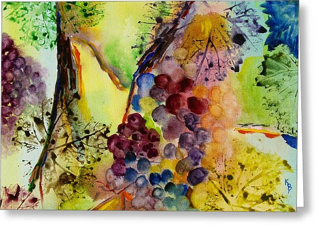 Grapes And Leaves IIi Greeting Card by Karen Fleschler