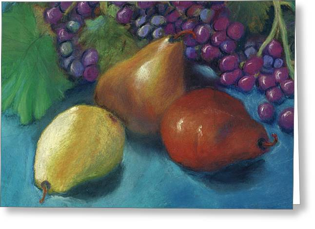 Grape Leaves Pastels Greeting Cards - Grapes and Pears 2 Pastel Greeting Card by Antonia Citrino