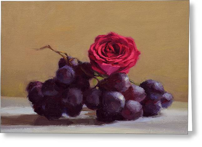 Purple Roses Greeting Cards - Grapes and Rose Greeting Card by Ben Hubbard