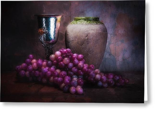 Goblet Greeting Cards - Grapes and Silver Goblet Greeting Card by Tom Mc Nemar