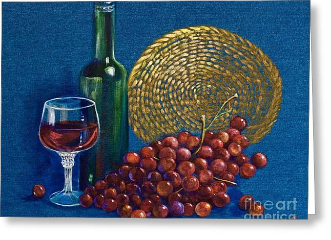 Blue Grapes Greeting Cards - Grapes and Wine Greeting Card by AnnaJo Vahle