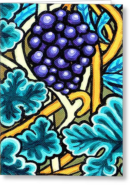 Print On Canvas Greeting Cards - Grapes Greeting Card by Genevieve Esson