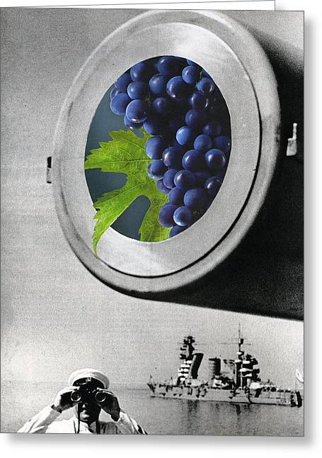 Wine Grapes Mixed Media Greeting Cards - Grapes in a Cannon Greeting Card by Francine Gourguechon