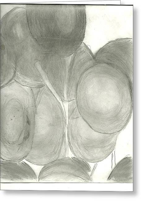 Graphite Digital Greeting Cards - Grapes Greeting Card by Linda Corbett