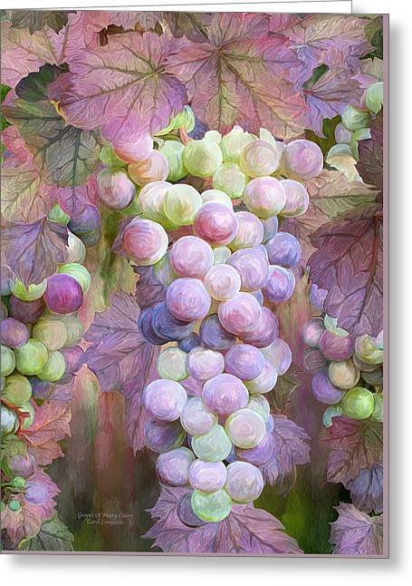 Grape Leaves Mixed Media Greeting Cards - Grapes Of Many Colors Greeting Card by Carol Cavalaris