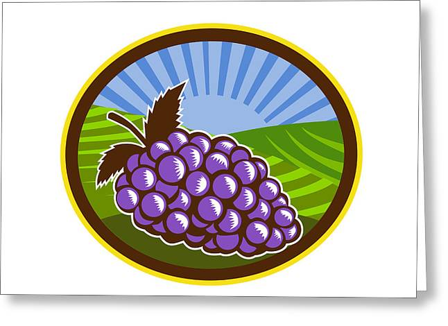 Grapes Vineyard Farm Oval Woodcut Greeting Card by Aloysius Patrimonio