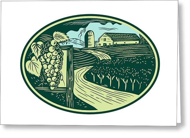 Grapes Vineyard Winery Oval Woodcut Greeting Card by Aloysius Patrimonio