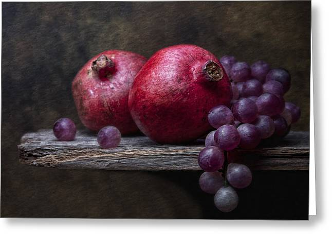 Purple Grapes Photographs Greeting Cards - Grapes with Pomegranates Greeting Card by Tom Mc Nemar