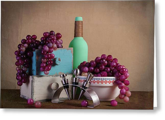 Grapes With Wine Stoppers Greeting Card by Tom Mc Nemar