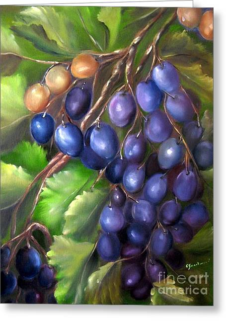 Grape Vines Paintings Greeting Cards - Grapevine Greeting Card by Carol Sweetwood