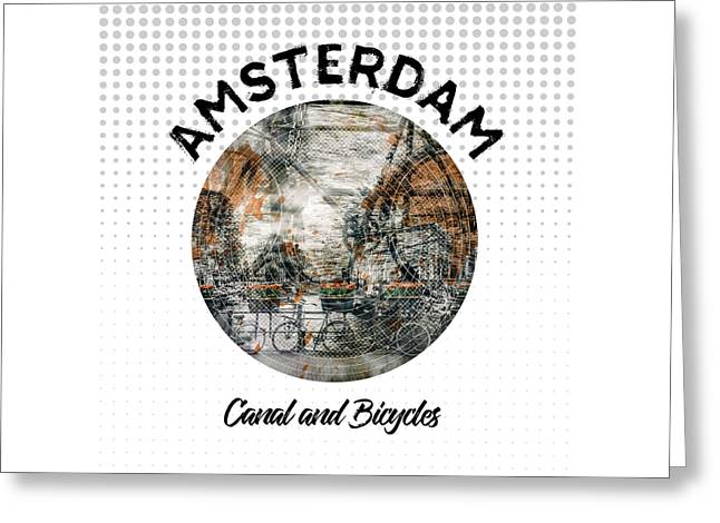 Graphic Art Amsterdam Canal And Bicycles Greeting Card by Melanie Viola
