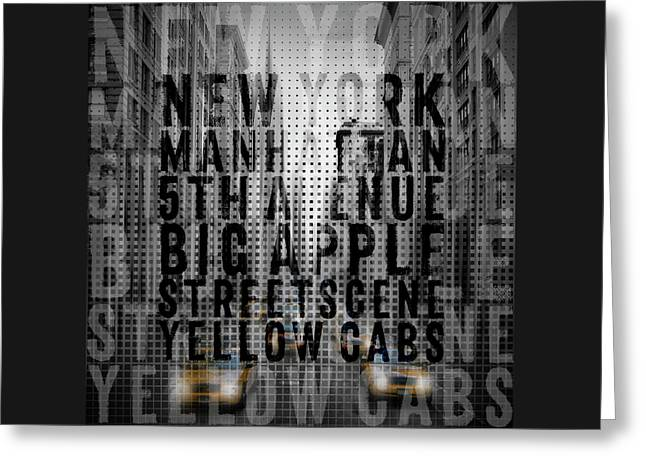 Graphic Art Nyc 5th Avenue Yellow Cabs II Typography Greeting Card by Melanie Viola