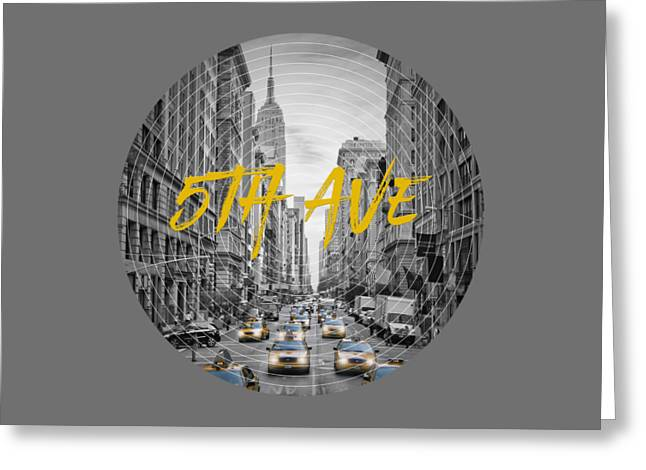 Graphic Art Nyc 5th Avenue Yellow Cabs Greeting Card by Melanie Viola