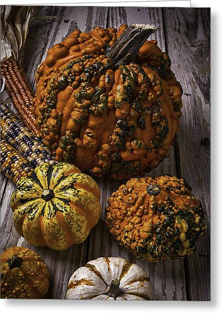 Mottled Greeting Cards - Graphic Knuklehead Pumpkin Greeting Card by Garry Gay