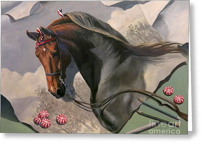 American Saddlebred Greeting Cards - Graphite Resurrection 4 Greeting Card by Jeanne Newton Schoborg