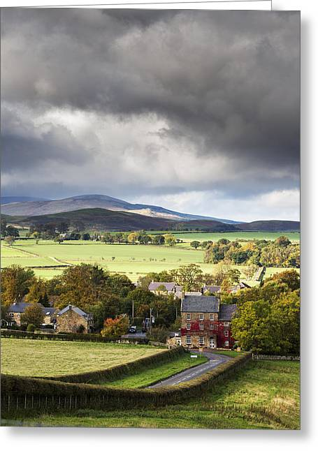 People In Autumn Greeting Cards - Grass Fields And Autumn Coloured Trees Greeting Card by John Short