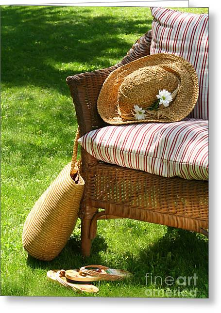 Lazy Digital Art Greeting Cards - Grass lawn with a wicker chair  Greeting Card by Sandra Cunningham