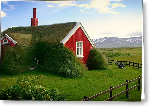 Thatch Greeting Cards - Grass Roofed Home in Iceland Greeting Card by Jacqueline Macou
